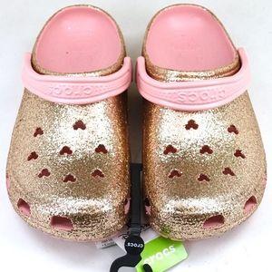 Disney Rose Gold Glitter Mickey Classic II Crocs
